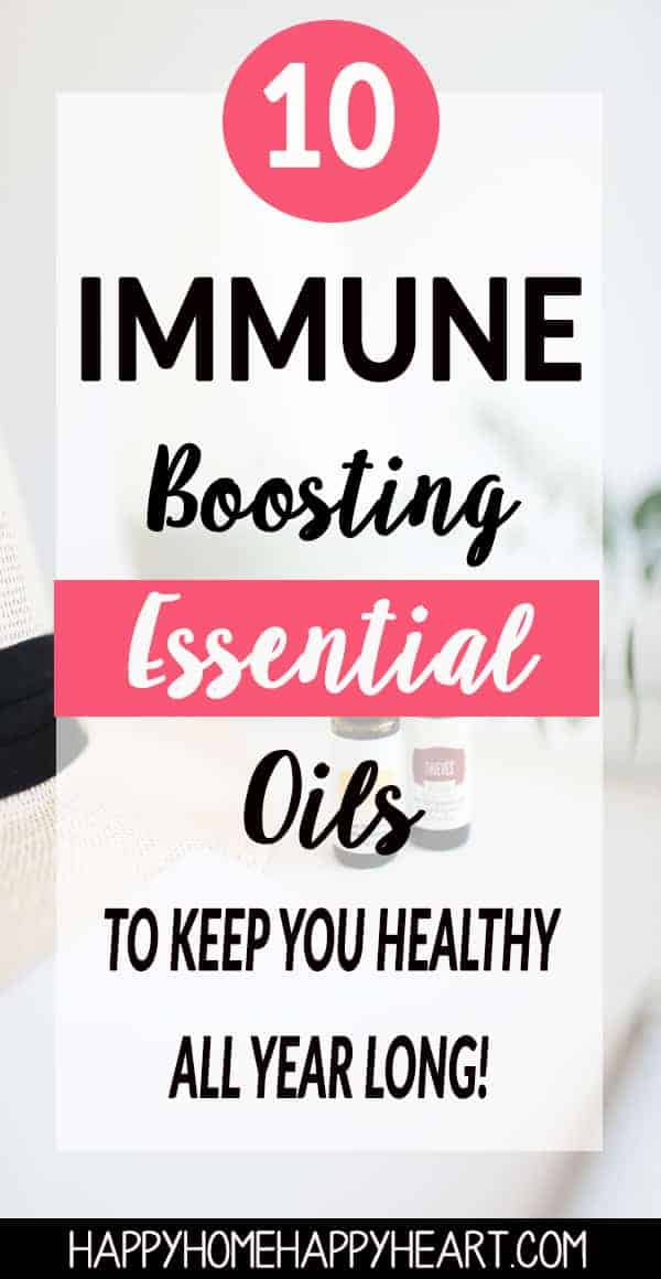 Immune boosting essential oils sitting next to essential oil diffuser with text overlay