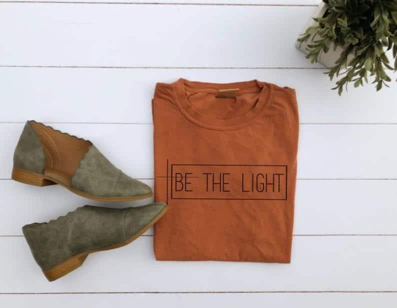 Be The Light christian t-shirt on Etsy