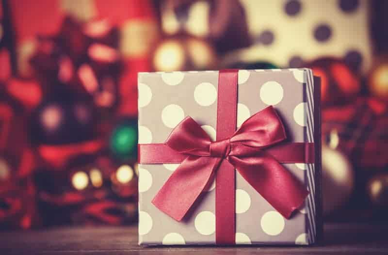 Christmas gift with large red bow sitting in front of Christmas tree