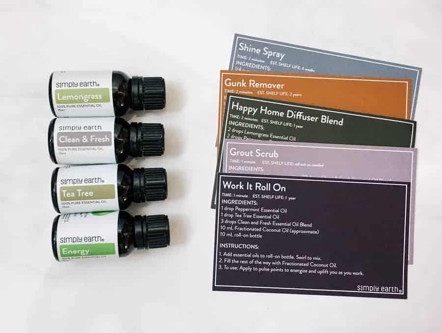 Simply Earth Essential oils next to recipe cards