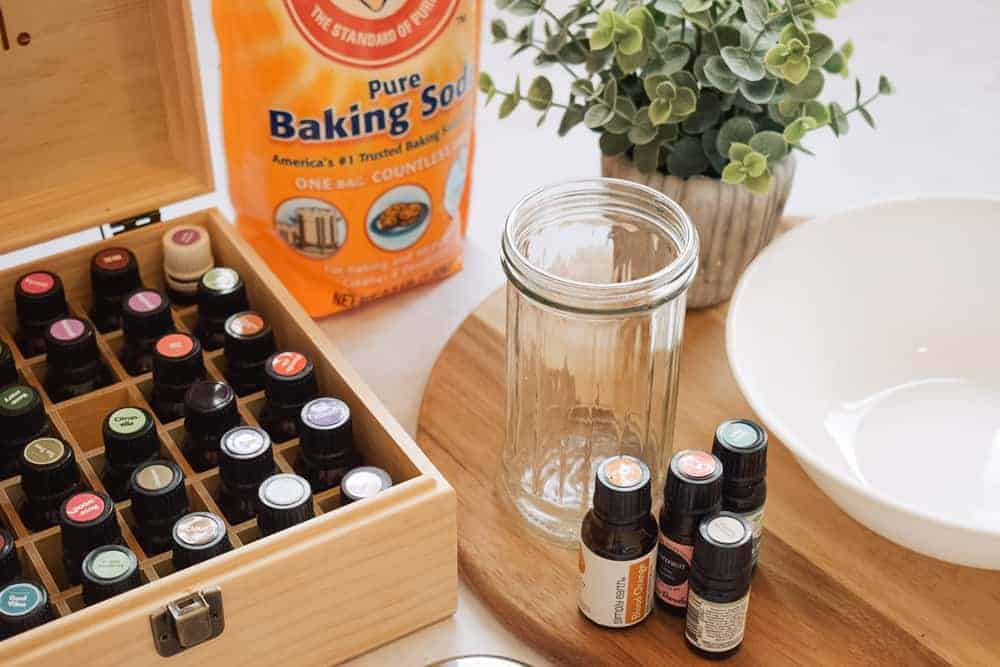 essential oils and items needed to make diy car freshener