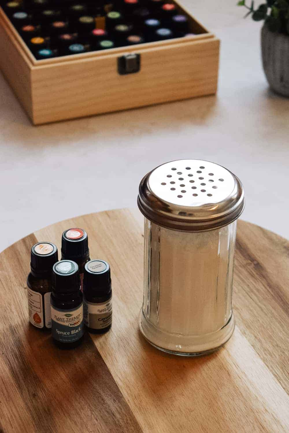 diy car freshener and essential oils on cutting board