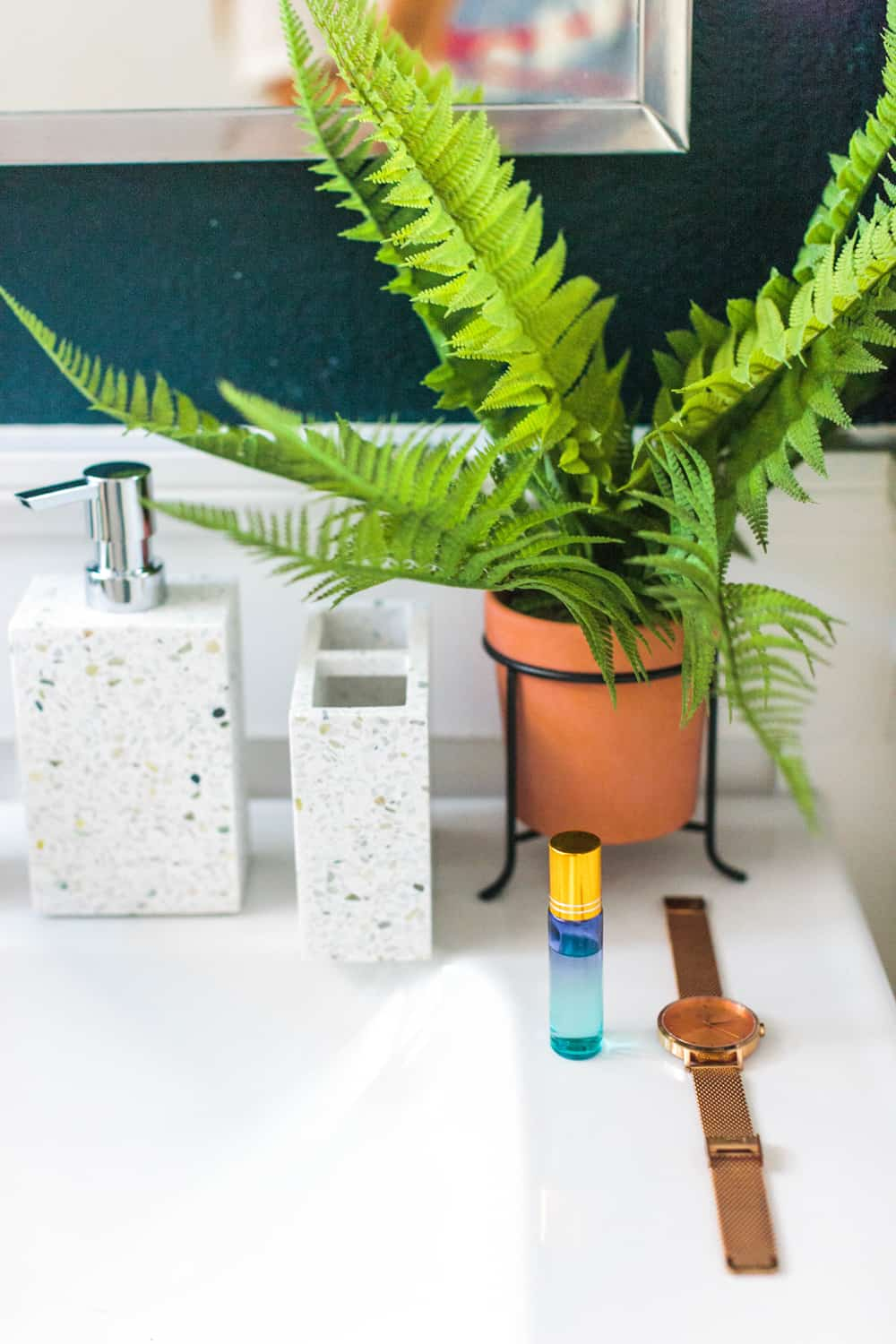 plant, roller bottle, soap dispenser and toothbrush holder next to sink