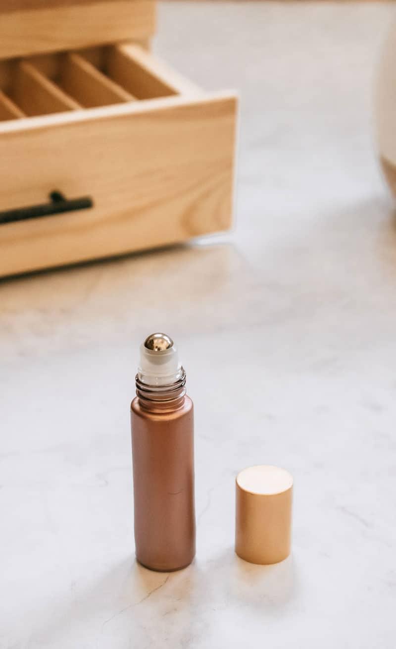 Rosegold essential oil roller bottle