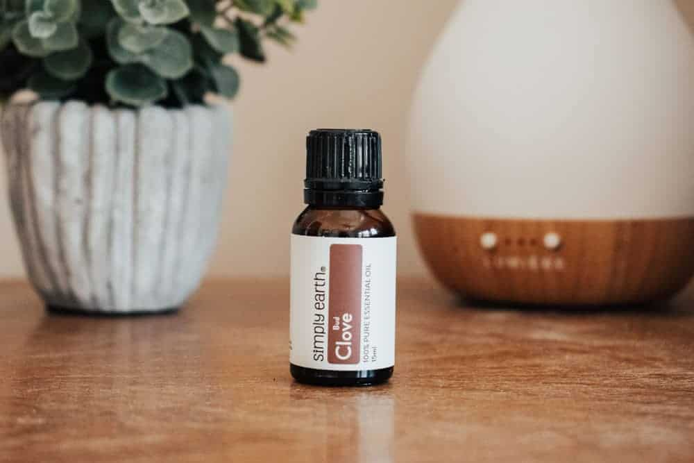 Simply Earth clove essential oil standing next to essential oil diffuser and small plant