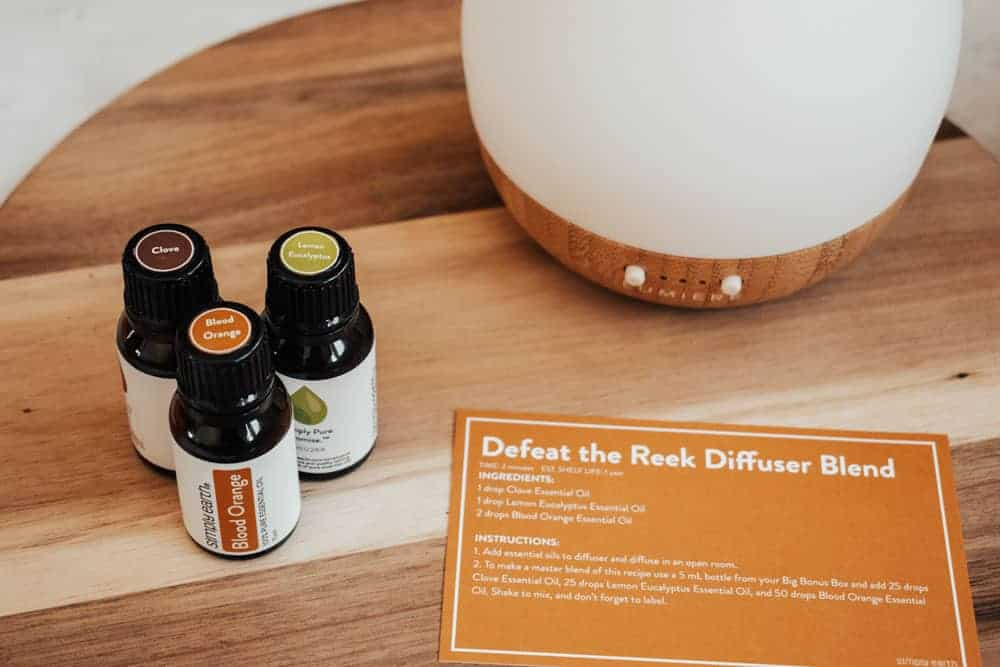 Simply Earth blood orange essential oil, clove essential oil, and lemon eucalyptus essential oil standing next to essential oil diffuser