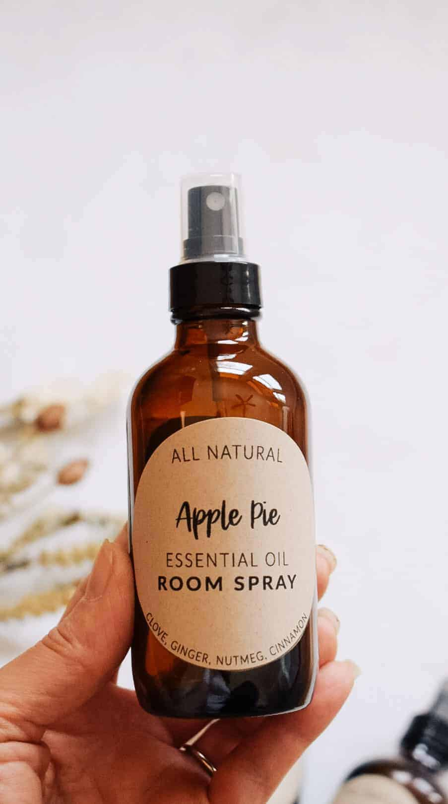 person holding apple pie fall room spray