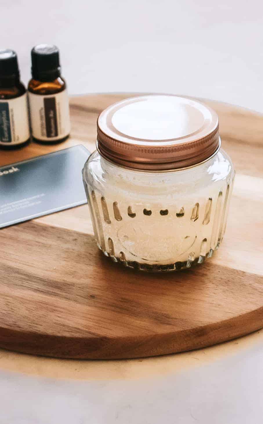 jar of homemade foot cleansing soak