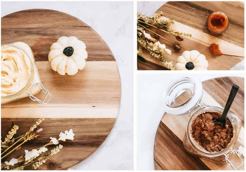 Collage of homemade fall skincare recipes