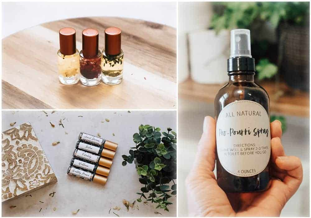 collage photo of different diy gifts made with essential oils