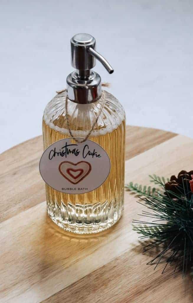 Christmas Cookie bubble bath in glass bottle