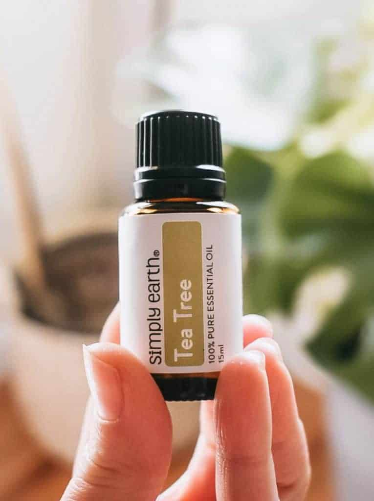 Person holding Simply Earth tea tree essential oil.