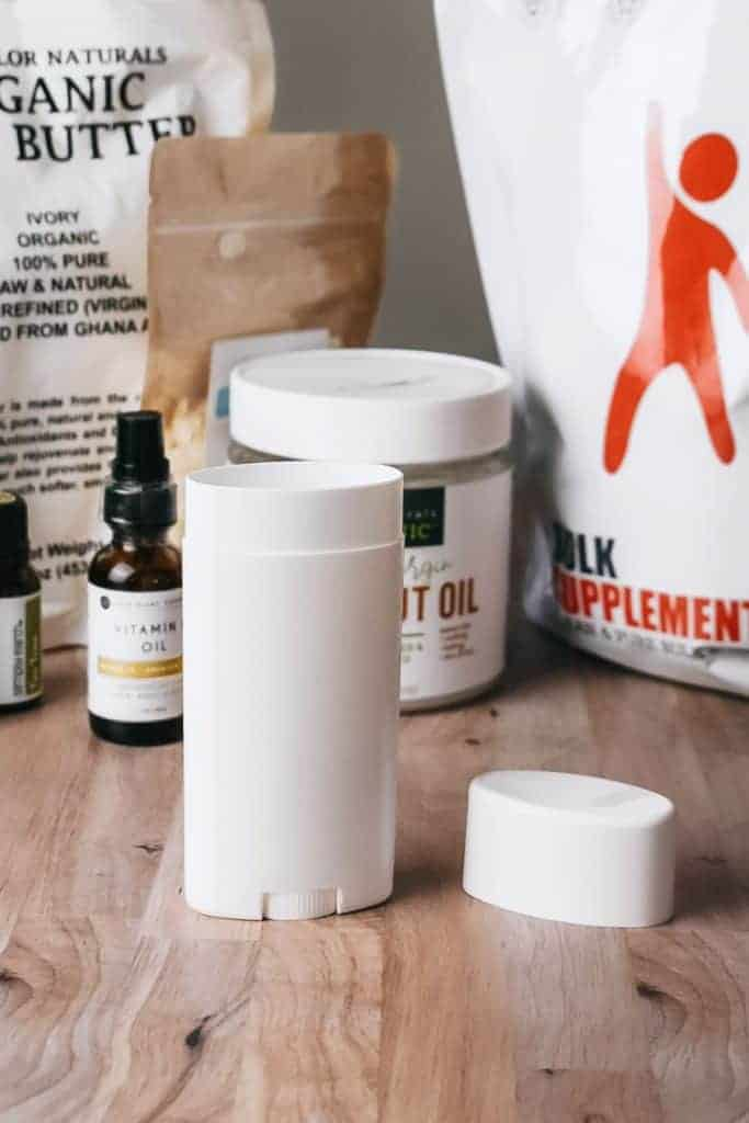 Homemade deodorant ingredients sitting on table.