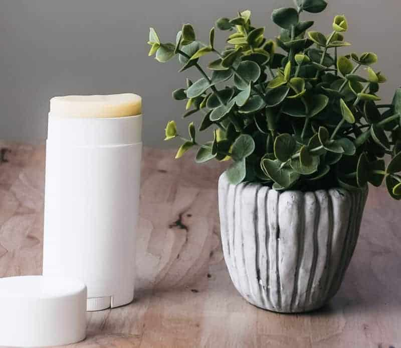 DIY deodorant that works sitting on counter next to plant.