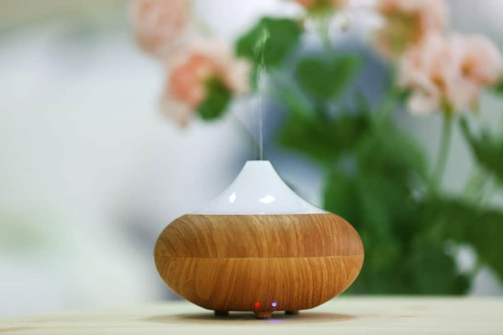 Essential oil diffuser on counter.